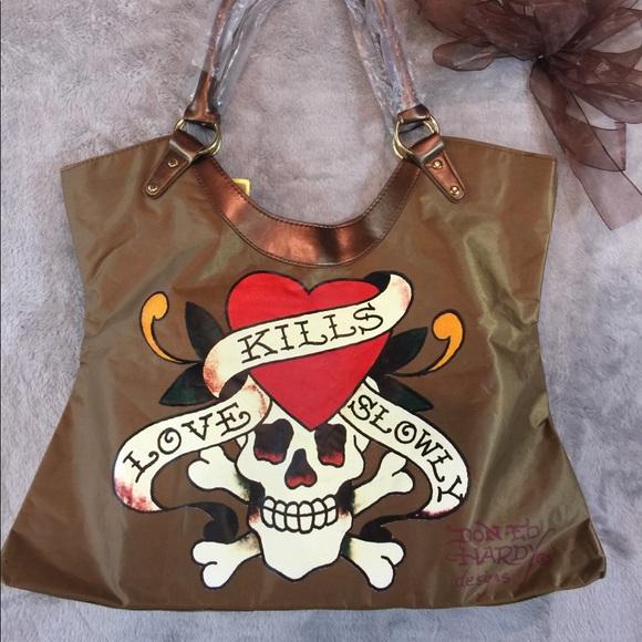 a7bcfa1fa27 the latest 43e96 b51ac ed hardy tote bag large canvas and leather ...